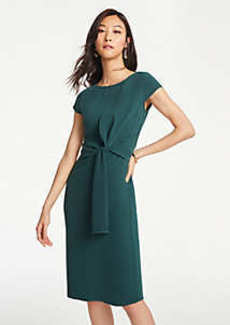 Ann Taylor Foldover Tie Waist Sheath Dress