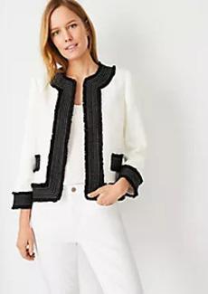 Ann Taylor Framed Fringe Tweed Jacket