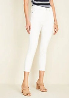 Ann Taylor Frayed Sculpting Pocket Skinny Crop Jeans in White