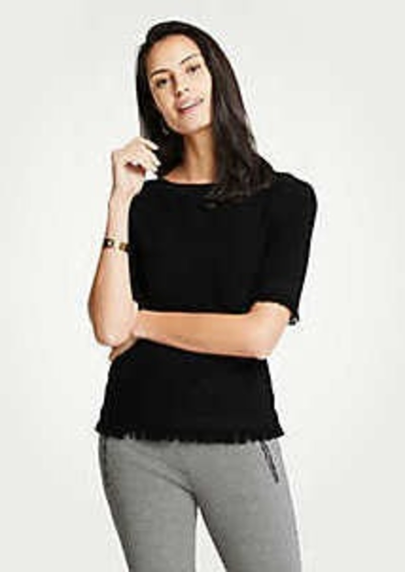 Ann Taylor Fringe Short Sleeve Sweater