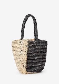 Ann Taylor Fringe Straw Bag