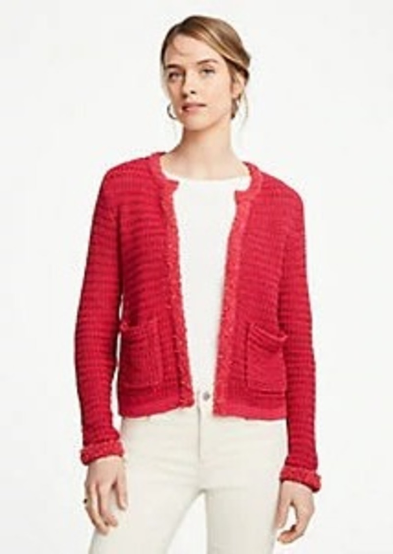 Ann Taylor Fringe Trim Sweater Jacket