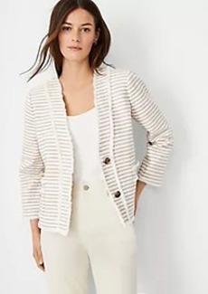 Ann Taylor Fringe Tweed Cropped Cardigan Jacket
