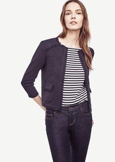 Ann Taylor Fringe Tweed Open Jacket