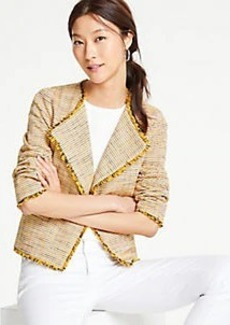 Ann Taylor Fringe Tweed Open Jacket