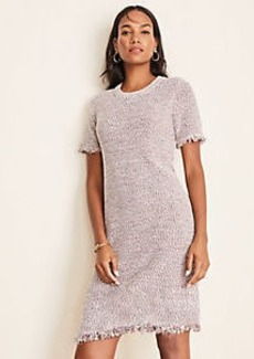 Ann Taylor Fringe Tweed Sweater Dress