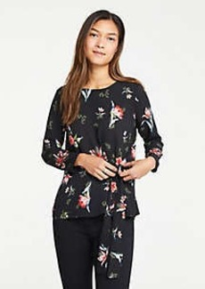 Ann Taylor Garden Floral Side Tie Mixed Media Top