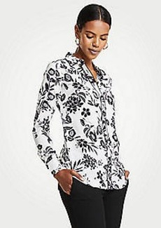 Ann Taylor Garden Piped Silky Perfect Shirt