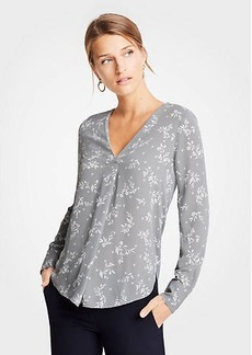 Ann Taylor Garden Mixed Media Pleat Front Top