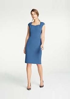 Ann Taylor Gathered Cap Sleeve Doubleweave Sheath Dress