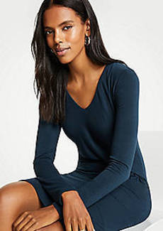 Ann Taylor Gathered Waist V-Neck Knit Sheath Dress
