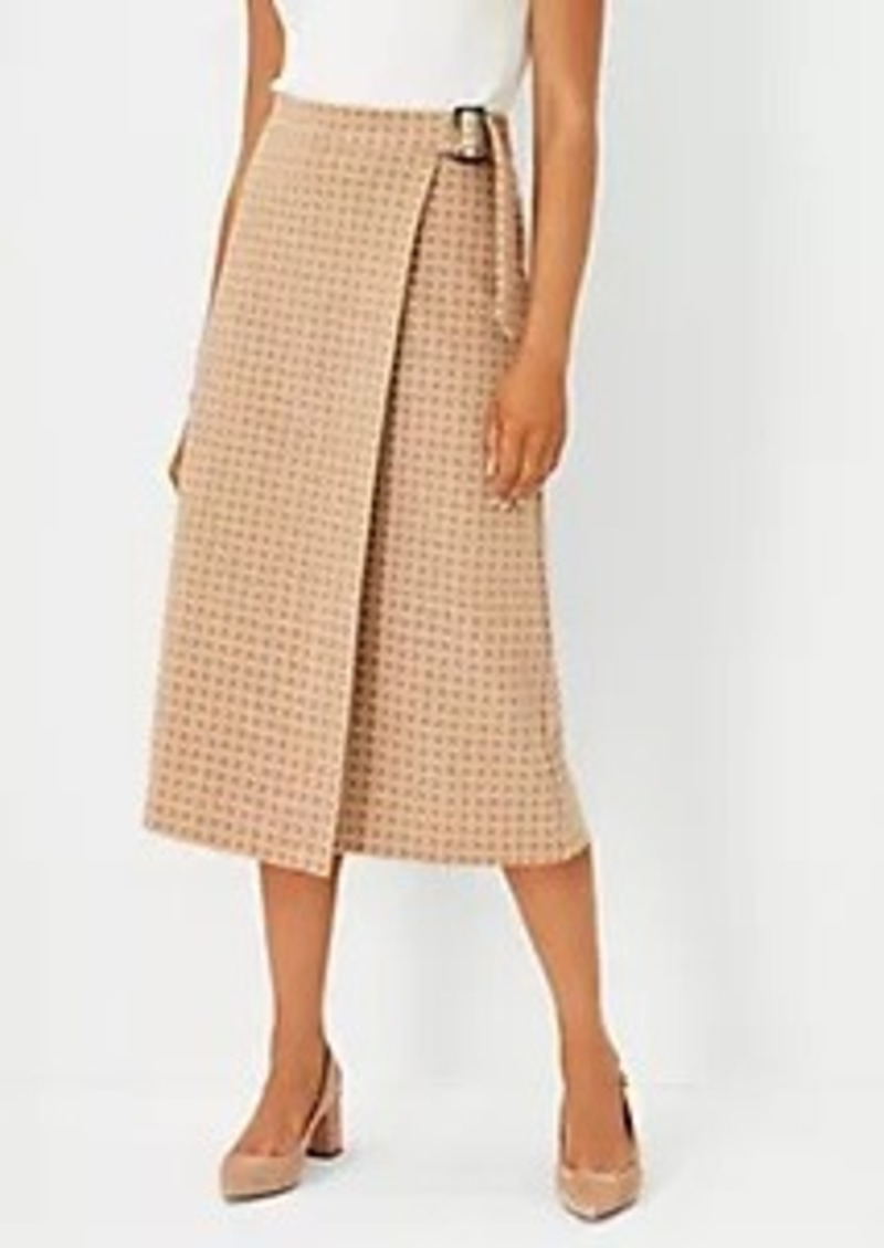 Ann Taylor Geo Buckle Wrap A-Line Midi Skirt