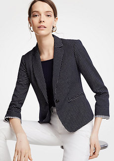 Ann Taylor Geo Check One Button Blazer