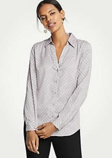 Ann Taylor Geo Essential Button Down Blouse