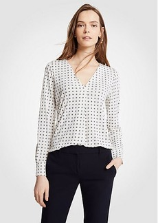 Geo Floral Pleated V-Neck Top