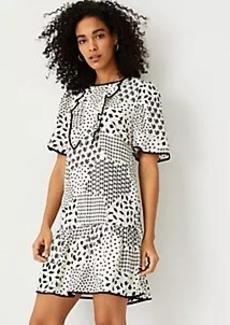 Ann Taylor Geo Floral Ruffle Shift Dress