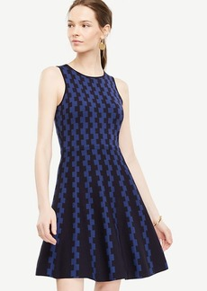 Ann Taylor Geo Jacquard Flare Sweater Dress
