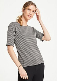 Ann Taylor Geo Jacquard Short Sleeve Top