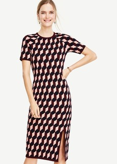 Geo Jacquard Sweater Sheath Dress