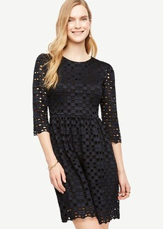 Ann Taylor Geo Lace Flare Dress
