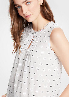 Ann Taylor Geo Scalloped Pintucked Shell