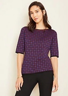 Ann Taylor Geo Seasonless Yarn Boatneck Sweater Tee