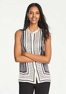 Ann Taylor Geo Striped Sleeveless Button Down Top