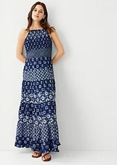 Ann Taylor Geo Tiered Halter Maxi Dress