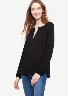 Ann Taylor Georgette Split Neck Blouse