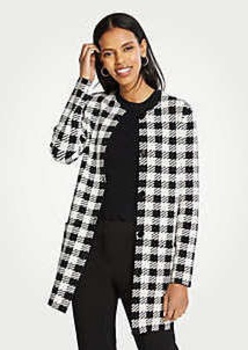Ann Taylor Gingham Coatigan
