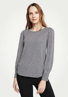 Ann Taylor Gingham Cuffed Boatneck Top