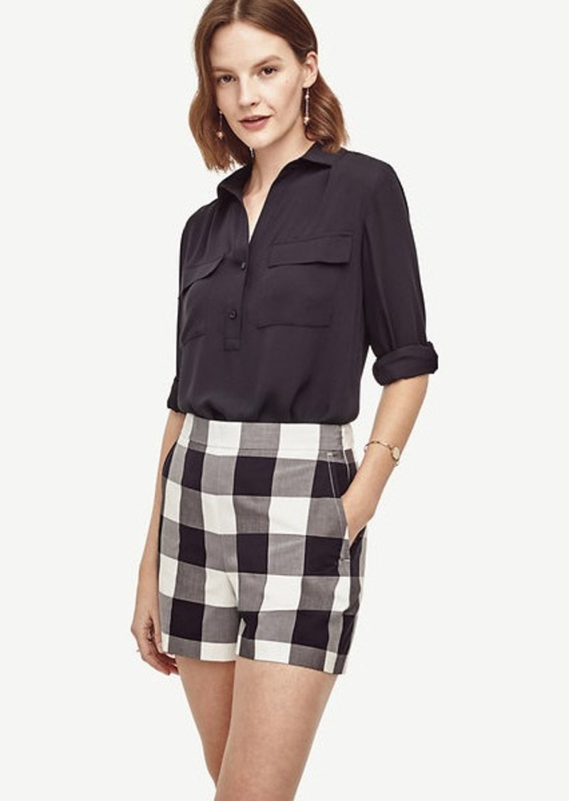 Ann Taylor Gingham High Waist Shorts