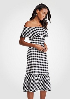 Ann Taylor Gingham Off The Shoulder Midi Dress