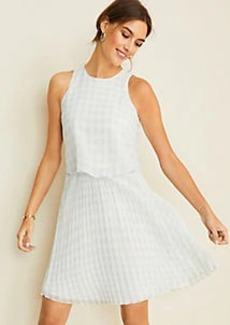 Ann Taylor Gingham Overlay Pleated Flare Dress