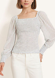 Ann Taylor Gingham Smocked Square Neck Top