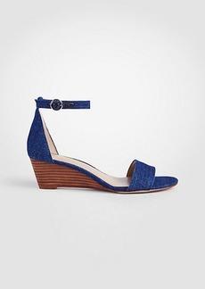 Ann Taylor Giuliana Denim Wedge Sandals