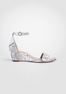 Ann Taylor Giuliana Exotic Embossed Leather Wedge Sandals