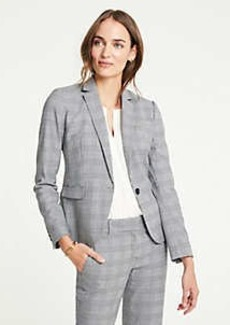 Ann Taylor Glen Plaid One Button Blazer