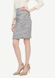 Ann Taylor Grid Fringe Tweed Pencil Skirt