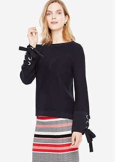 Ann Taylor Grommet Tie Sleeve Sweater