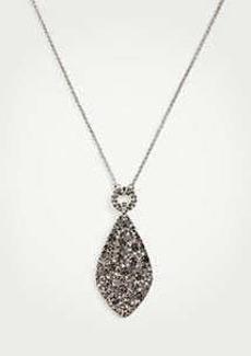 Ann Taylor Gunmetal Pave Pendant Necklace