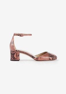 Haley Exotic Embossed Leather Ankle Strap Heels