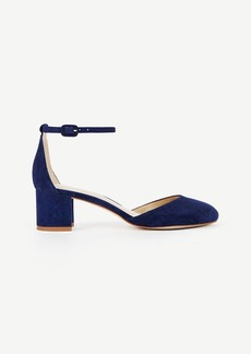 Haley Suede Round Toe Ankle Pumps