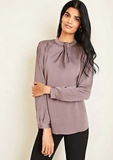 Ann Taylor Hammered Satin Twist Neck Blouse