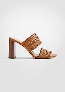 Ann Taylor Hartley Leather Ruffle Block Heel Sandals