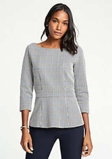 Ann Taylor Plaid Peplum Top