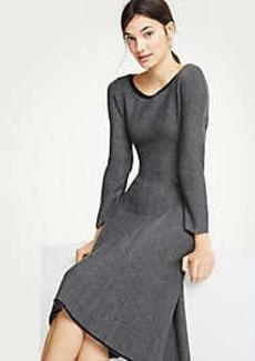 Ann Taylor Herringbone Flounce Sweater Dress
