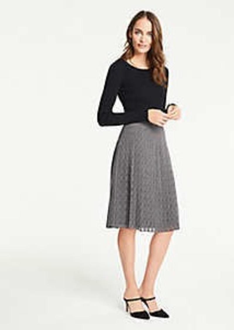 Ann Taylor Herringbone Pleated Skirt