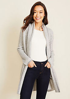 Ann Taylor Herringbone Shawl Collar Open Cardigan
