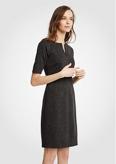 Herringbone Split Neck Sheath Dress